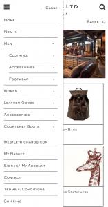 Responsive navigation for magento e-commerce website
