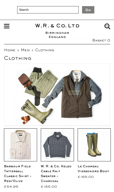 Magento store search bar on a mobile device