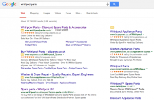 Search results showing PPC and organic search results for Whirlpool Parts