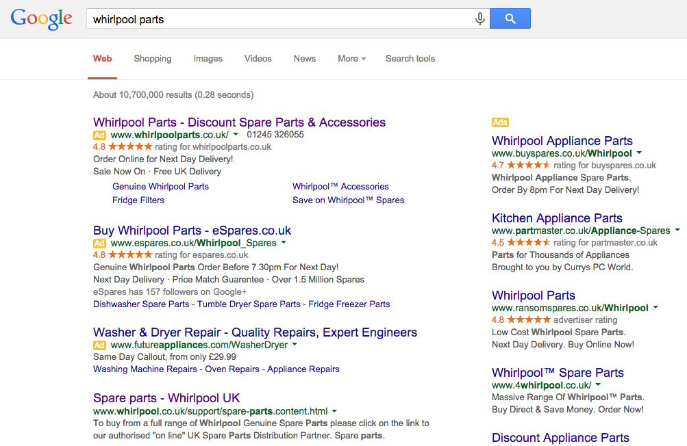 Search results showing PPC advertising and organic search results for Whirlpool Parts