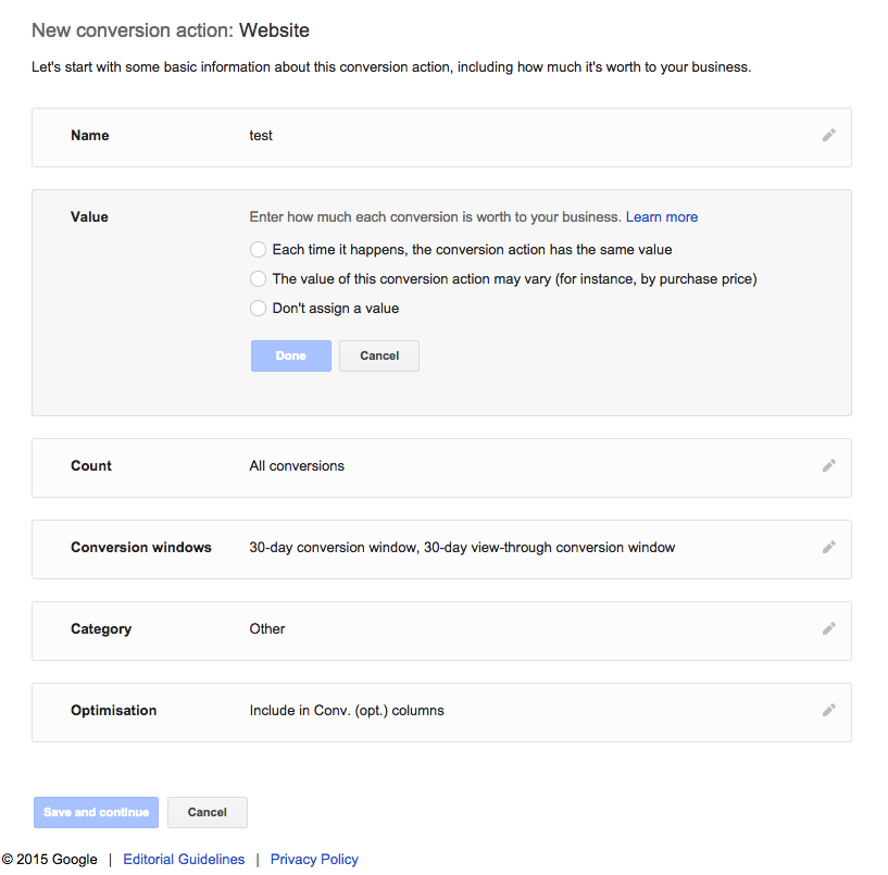 Conversion value setup on Adwords conversion tracking
