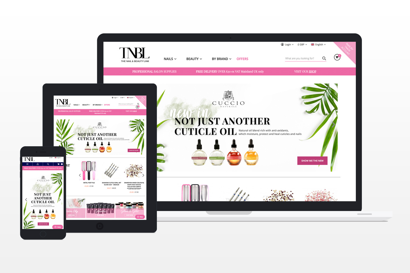 The Nail and Beauty Link - Magento Redesign