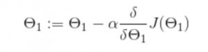 gradient descent algorithm for our simple hypothesis exampe